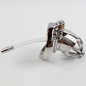 Stainless Steel Chastity Device With Urethral Catheter And Spike Ring