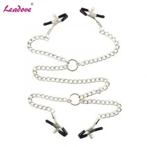 Metal Nipple Clamps With Chains And Vaginal Clips