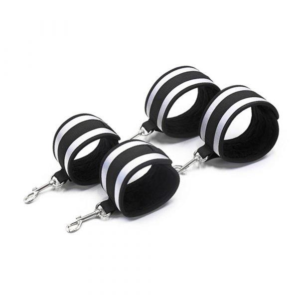 BDSM Bondage Set Sex Handcuffs Ankle Cuffs Collar Stainless Steel Metal Spreader Bar