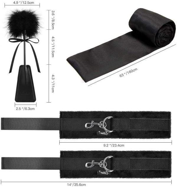 Sex Toys Bondage BDSM Kit Including Hand Cuffs Ankle Cuff Blindfold & Tickler