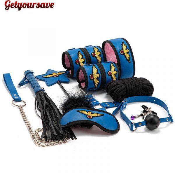 BDSM leather bondage kit
