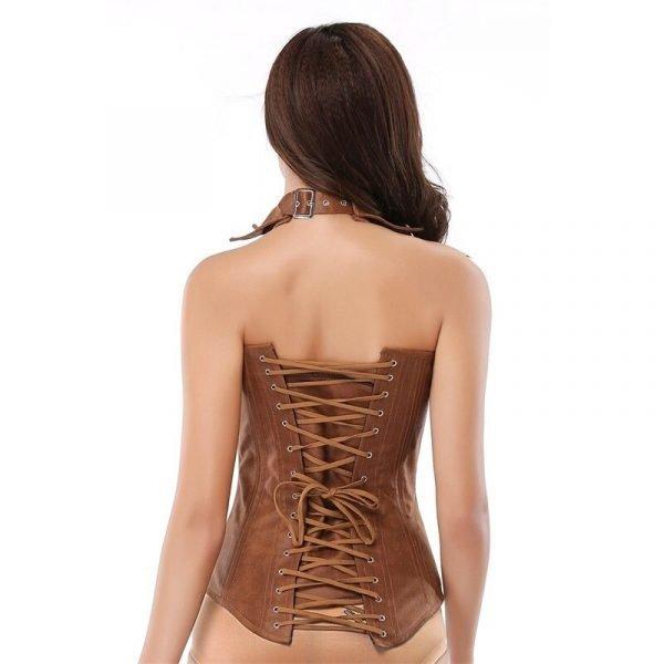 Leather Style Zipper Court Three Piece Corset