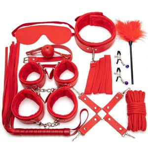 Getyoursave Sexy Leather BDSM Kits Plush Sex Bondage Set Handcuffs Whip Gag Nipple Clamps Exotic Accessories